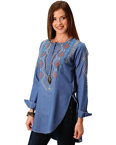 Roper Women's Aztec Embroidered Henley Tunic Indigo - Embroidered Roper Shirt