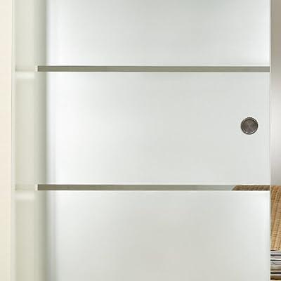 Para puerta corredera de cristal ST 814 V1000 - 775 x 2050 x 8 mm DIN izquierda, 8 mm cristal de seguridad, cristal transparente con decoración, diseño de ancho, asa y sistema