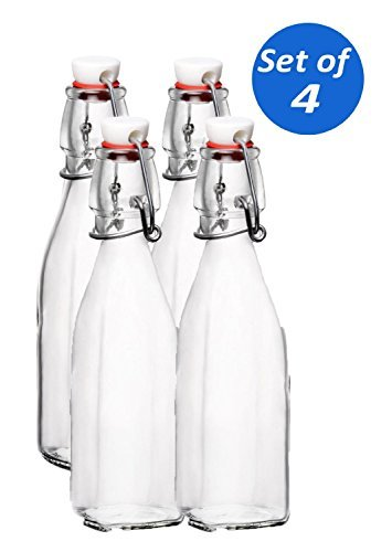 Bormioli Rocco Glass 8.5 Ounce Swing Top Bottle, Set of 4 ()
