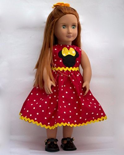 Minnieマウス人形ドレスハンドメイドfor 18