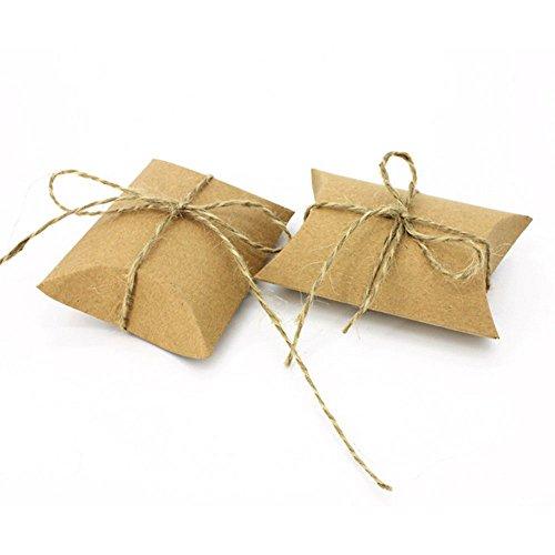lautechco 50pcs papel Kraft bolsa de dulces con lazo cordel, almohada cajas con diseño de para fiesta de boda Favor cajas de...