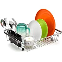 SANNO Over The Sink Expandable Dish Drying Rack,Utensil Silverware Storage Holder Adjustable Dish Drainer,Dish Rack in Sink or On Counter