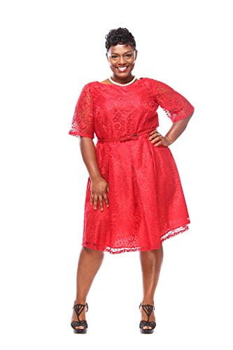 Julian Taylor Women's Plus Size Elbow Sleeve Lace Party Dress - Red Dress (Red)
