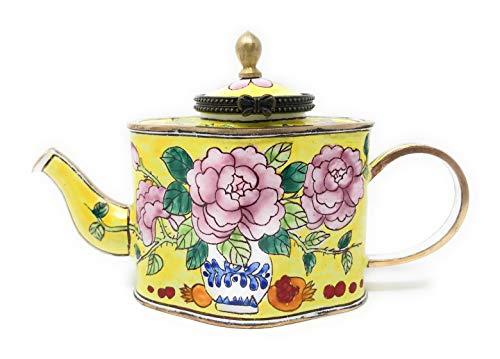 Kelvin Chen Vase of Peony Flowers Enameled Miniature Teapot with Hinged Lid, 5 Inches - Vase Enameled