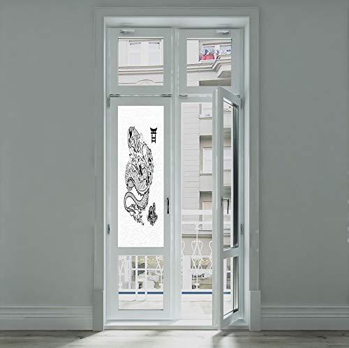 YOLIYANA Privacy Window Film Decorative,Japanese Dragon,for Glass Non-Adhesive,Tattoo Art Style Mythological Dragon Figure Monochrome Reptile,24''x70'' ()