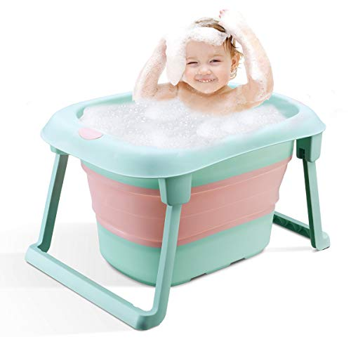 3-in-1 Baby Bath Tub Portable Toddler Collapsible Bathtub Infant Shower Basin Anti Slip Skid Proof for 0-10 Years (Green, tub)