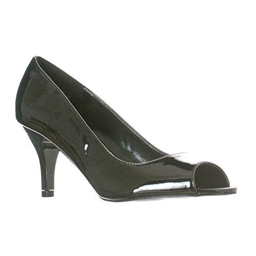 Lasonia Peep Toe Synthetische Dames Pump Pump Black Patent