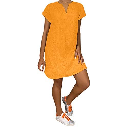 TIANMI Women Summer V Neck Short Sleeve Shirt Casual Tops Dress(H Orange,L)
