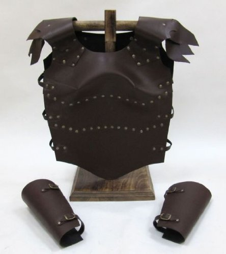 Set of Leather Breastplate and Bracers - Forearm Guards - Wearable Costume Armor - Leather Breastplate Costume
