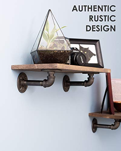 Rustic Industrial Pipe Brackets Floating Shelves by Pipe Decor, Distressed Aged Wood Paired with Iron Pipes Bracket, Wall Mounted Hanging Shelf, Reclaimed and Barn Wood Inspired, 24 Inch Grey 2 Pack by PIPE DÉCOR (Image #4)