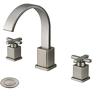 Fryotuc cross handle bathroom faucet double handle - 8 inch brushed nickel bathroom faucet ...