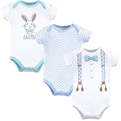 Little Treasure Unisex Baby Cotton Bodysuits, boy 1st Easter 3-Pack Short-Sleeve, 6-9 Months (9M) -
