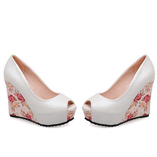AllhqFashion Womens Peep Toe Pull-on PU Solid High-Heels Sandals White 5S4sGRE