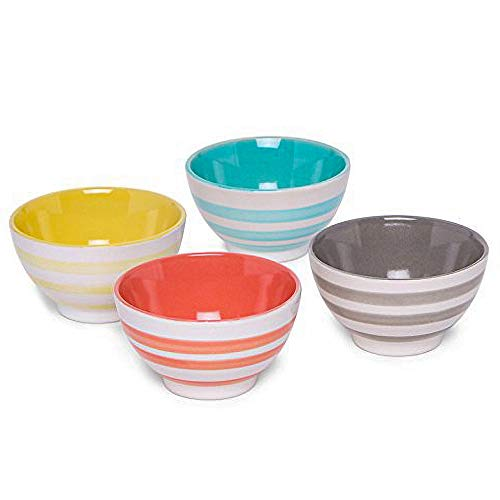 AllAsta Ceramic Striped Dip Bowls Multi-Colored Set of 4