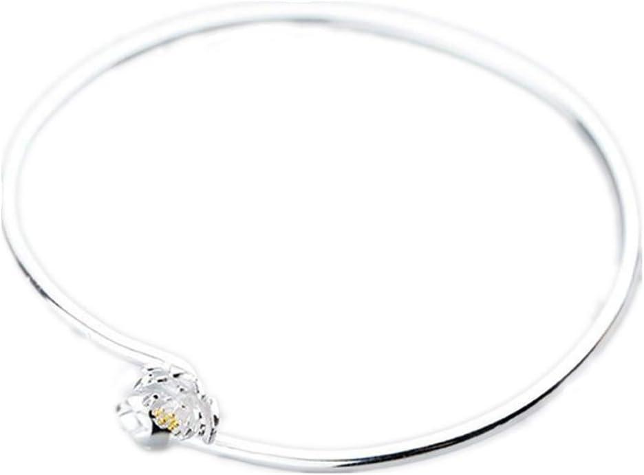 JunBo Pulsera de Plata de la Manera pequeña joyería Plateada Oro Fresca de la Pulsera del Loto