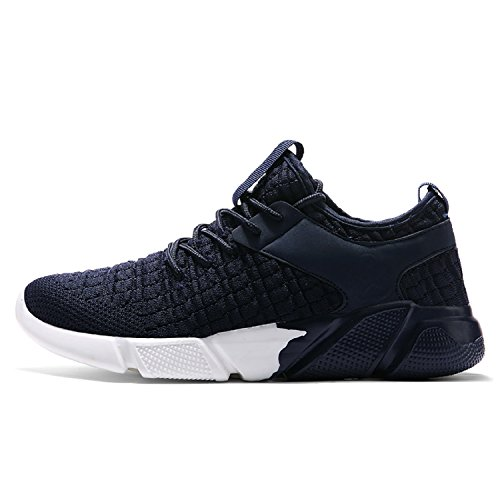 tqgold Mens Mesh Running Trainers Athletic Walking Gym Shoes Casual Sport Run Fit Sneakers (Blue, Size 43)