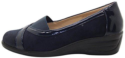 Slip Pompe Comfort Damson On navy Brogue Lavoro Da Shoe Tree Ladies YTwIIqP
