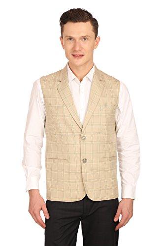 Wintage Men's Poly Cotton Notch Lapel Vest Waistcoat:Beige, Large Notch Lapel Vest