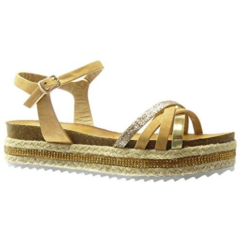Angkorly - Scarpe da Moda sandali Espadrillas zeppe donna paillette multi-briglia tanga Tacco zeppa piattaforma 5 CM - Cammello