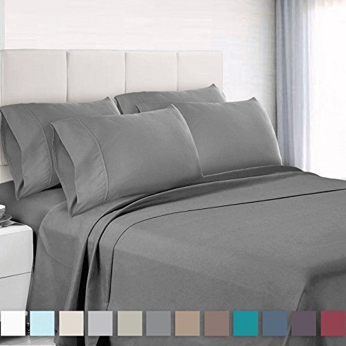 Empyrean Bedding 6 Piece Set - Hotel Luxury Silky Soft Double Brushed Microfiber - Hypoallergenic Wrinkle Free Bed Sheets - Deep Pocket Fitted Sheet, Top Sheet, 4 Pillow Cases, Split King - Gray