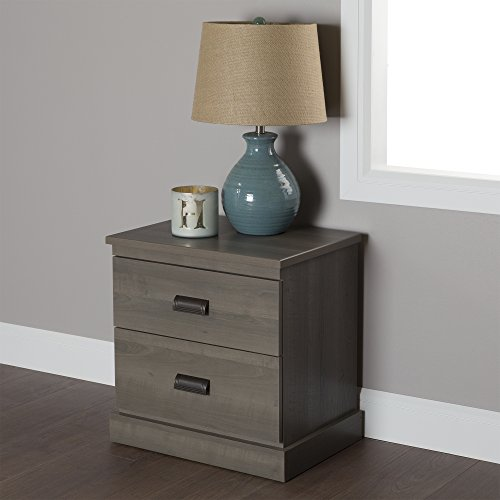 South Shore Gloria 2-Drawer Nightstand, Gray Maple by South Shore