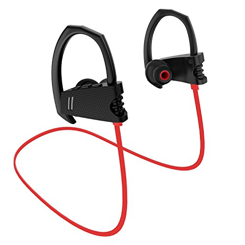 [Bluetooth Headphones, Wireless Headset V4.1 Heavy Bass Stereo In Ear Earbuds Noise Isolating Waterproof Sports Earphones with Mic -Red] (Wireless Enclosure)