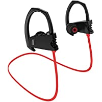 Bluetooth Headphones, Wireless Headset V4.1 Heavy Bass Stereo In Ear Earbuds Noise Isolating Waterproof Sports Earphones with Mic -Red
