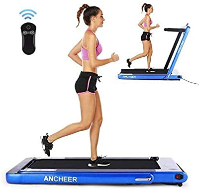 ANCHEER Under Desk Folding Treadmill,2 in1 Electric Exercise Treadmill,2.25HP Fitness Walking Running Machine with Remote Control&Digital Monitor&Bluetooth Speaker for Home Gym Office.