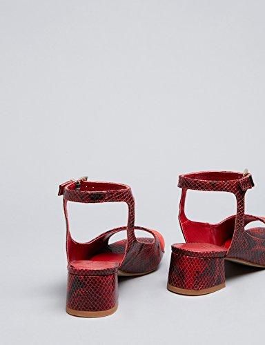 Sandalen Damen Schlangenleder Mehrfarbig Red FIND Print Knöchelriemchen Effekt dqFEEw