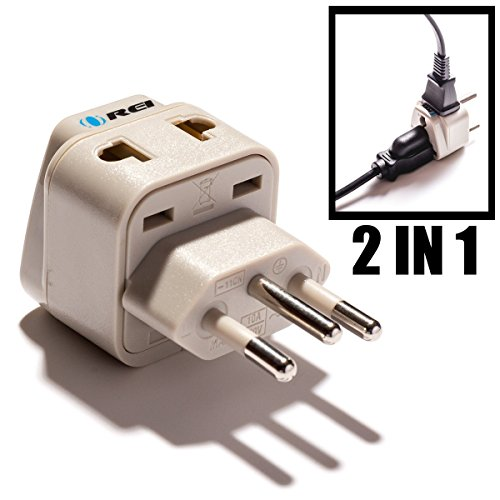 OREI Universal 2 in 1 Plug Adapter Type N for Brazil