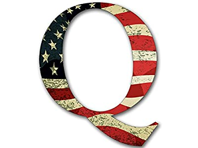 Q Shaped VINTAGE American Flag Sticker (qanon anon conservative trump)