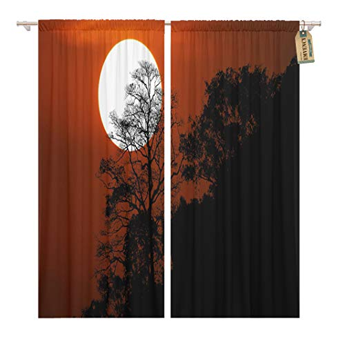Golee Window Curtain Halloween Silhouette Trees on Mountain in Spooky Sunset Sky Home Decor Rod Pocket Drapes 2 Panels Curtain 104 x 84 inches