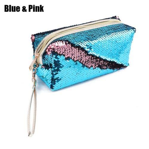 Handbags Pencil Case Sequins Makeup Pouch Cosmetic Bag Mermaid Purse (size - BluePink) ()