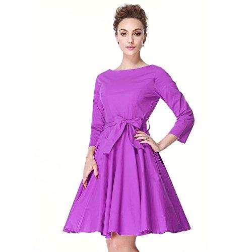 Swing Style Purple 60s Rockailly Sleeve 50s Retro 4 Dresses 3 Heroecol Vintage Hepburn 4RaYzZ