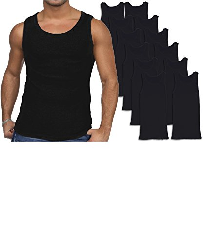 Andrew Scott Men's 12 Pack Color Tank Top a Shirt (Large 42-44, 12 Pack - Black)