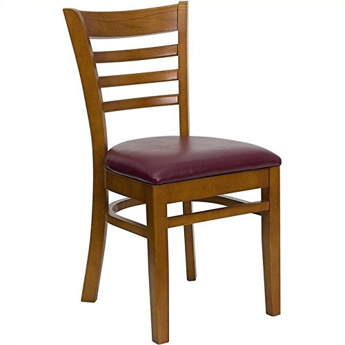Flash Furniture HERCULES Series Ladder Back Cherry Wood Restaurant Chair - Burgundy Vinyl Seat