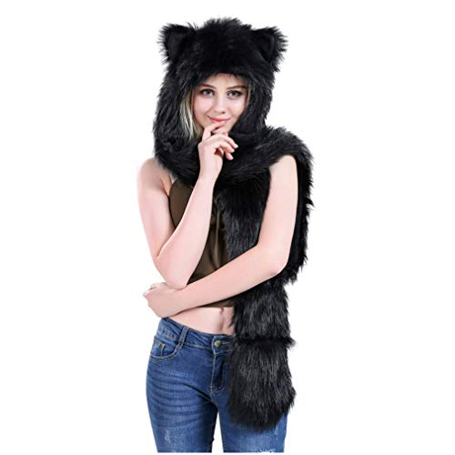 Black Bear Anime Faux Animal Hood Hoods Mittens Gloves Scarf Paws Prints and Ears