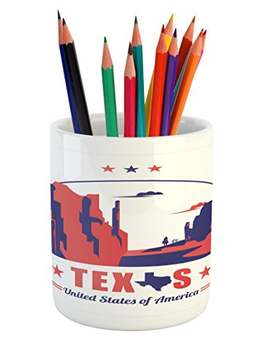 Cheap  Texas Star Pencil Pen Holder by Ambesonne, Texas State Map with Cowboy..