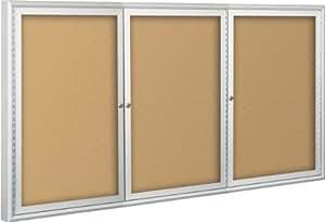 BestRite 4 x 6 Feet Indoor Enclosed Bulletin Board Cabinet, Natural Cork (94PSG-I-01)