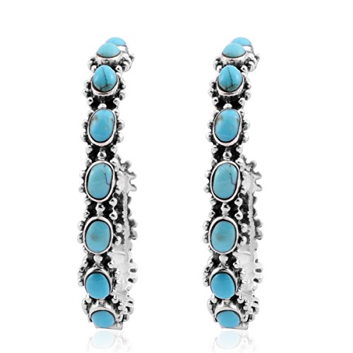 925 Sterling Silver Turquoise Blue Southwest Jewelry Hoops Hoop Earrings for Women Gift (Nickel Lead Free 31 mm)