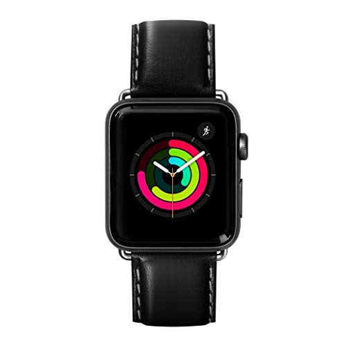 (LAUT | Oxford Watch Strap for Apple Watch Series 1/2/3/4 | Silky Smooth Nappa Genuine Leather | Stainless Steel Clasp & Connectors (42mm / 44mm • Noir))