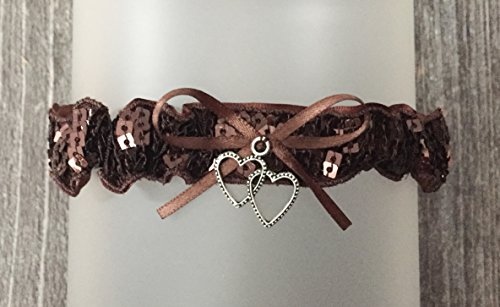 Sexy All Brown Prom Garter - Satin Brown Wedding Bridal Garter - Double Heart Charm Prom Garters - Brown Sequin