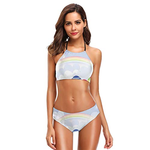 Women's Two Piece Bikini Swimsuits,Spring Season Nature with Daisies Butterfly and Rainbow Festive Colorful Ornate Eggs - Butterfly Ornate Fish