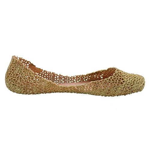 Womens Jelly Hollow Birds Nest Slip on Ballet Flat Shoes Gold 31bZO2El