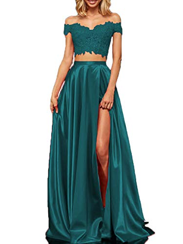 dd5aa3902f Lace Satin Prom Dresses with Slit Long Two Piece Off Shoulder Formal  Evening Gown for Juniors