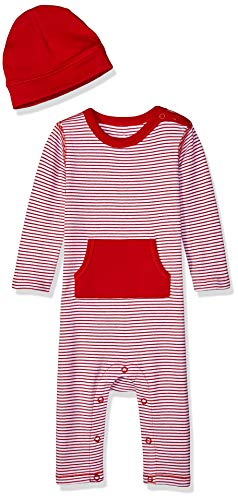 Moon and Back Baby Organic Long-Sleeve One-Piece Pocket Coverall with Cap Set, Red Cranberry, Newborn