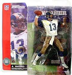 McFarlane Toys NFL Sports Picks Series 1 Action Figure Kurt Warner (St. Louis Rams) White Jersey Dirty Variant