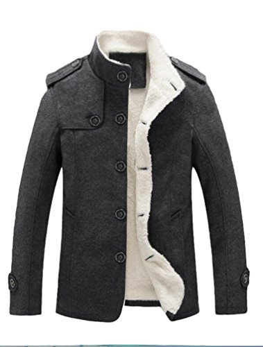 Lavnis Men's Cotton Blend Jacket Casual Stand Collar Single Breasted Trench Overcoat Gray M (Collar Single)