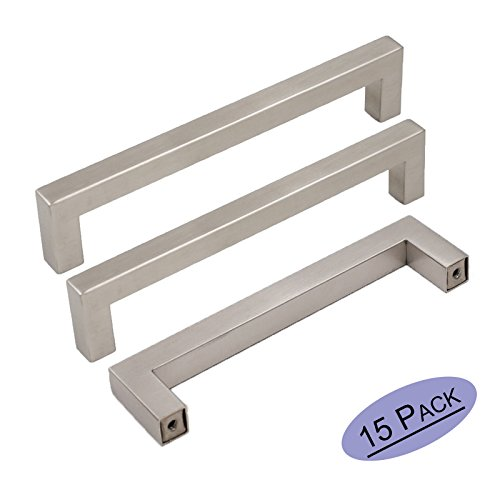 15Pack Goldenwarm Brushed Nickel Square Bar Cabinet Pull Drawer Handle Stainless Steel Modern Hardware for Kitchen and Bathroom Cabinets Cupboard, Center to Center 5in(128mm) ()