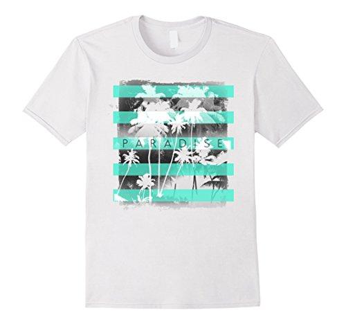Mens Paradise Neon Stripes With Palm Trees Graphic T-Shirt XL (Palm Beach Stripe)
